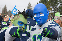Seattle Seahawks 12th Man Fans, Playoff Rally, Renton, WA, USA.