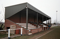 The main stand at Cornard United FC Football Ground, Blackhouse Lane, Great Cornard, Sudbury, Suffolk, pictured on 22nd February 1992