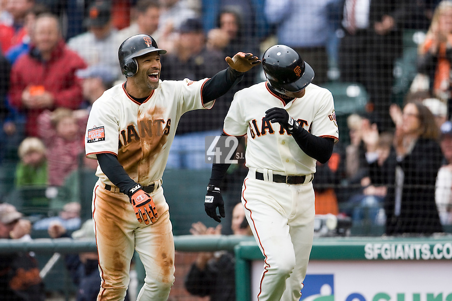 19 April 2007: Giants' Dave Roberts congrats Omar Vizquel in the sixth inning during the San Francisco Giants 6-2 victory over the St. Louis Cardinals at the AT&T stadium in San Francisco, CA.