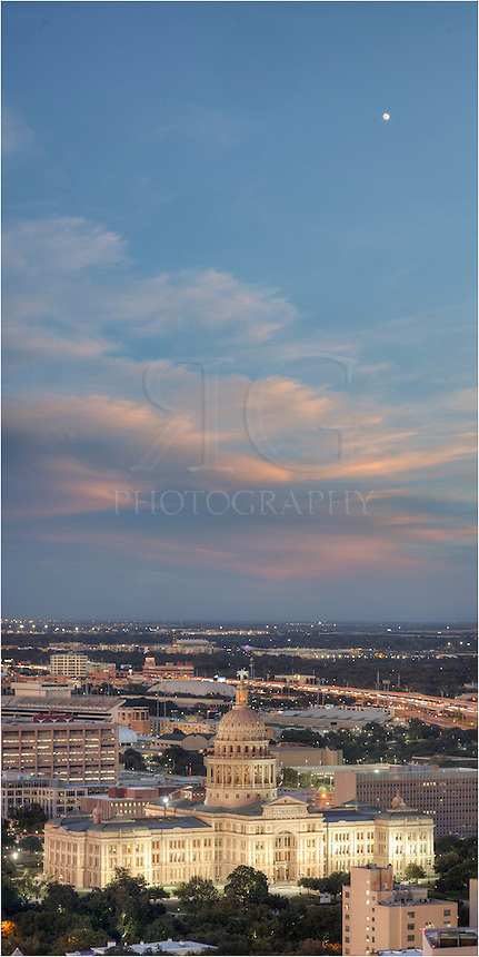 This image of the Texas State Capitol is a 3 image vertical stitch. I loved the clouds and moon above the Austin skyline and tried to capture the evening sky over Austin.