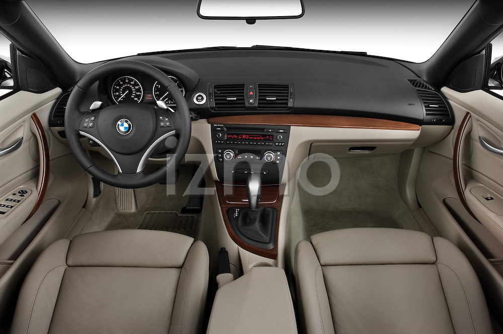 Straight dashboard view of a 2007 - 2011 BMW 1-Series 128i convertible.
