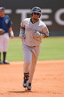 Juan Francisco #24 of the Louisville Bats rounds the bases after hitting a home run against the Charlotte Knights at Knights Stadium July 20, 2010, in Fort Mill, South Carolina.  Photo by Brian Westerholt / Four Seam Images