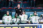 Stockholm 2014-03-27 Ishockey Kvalserien Djurg&aring;rdens IF - R&ouml;gle BK :  <br /> R&ouml;gles tr&auml;nare Magnus Bogren ser nedst&auml;md ut i b&aring;set brakom R&ouml;gles Emil Molin , R&ouml;gles Alen Bibic , R&ouml;gles Eric Persson och R&ouml;gles Eric Martinsson <br /> (Foto: Kenta J&ouml;nsson) Nyckelord:  DIF Djurg&aring;rden R&ouml;gle RBK Hovet depp besviken besvikelse sorg ledsen deppig nedst&auml;md uppgiven sad disappointment disappointed dejected