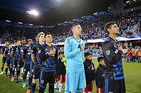 San Jose, CA - Friday April 14, 2017: San Jose Earthquakes Starting Eleven, Chris Wondolowski, David Bingham, Nick Lima  during a Major League Soccer (MLS) match between the San Jose Earthquakes and FC Dallas at Avaya Stadium.