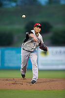 Hickory Crawdads starting pitcher Luis Ortiz (14) in action against the Kannapolis Intimidators at CMC-Northeast Stadium on April 17, 2015 in Kannapolis, North Carolina.  The Crawdads defeated the Intimidators 5-1 in game two of a double-header.  (Brian Westerholt/Four Seam Images)