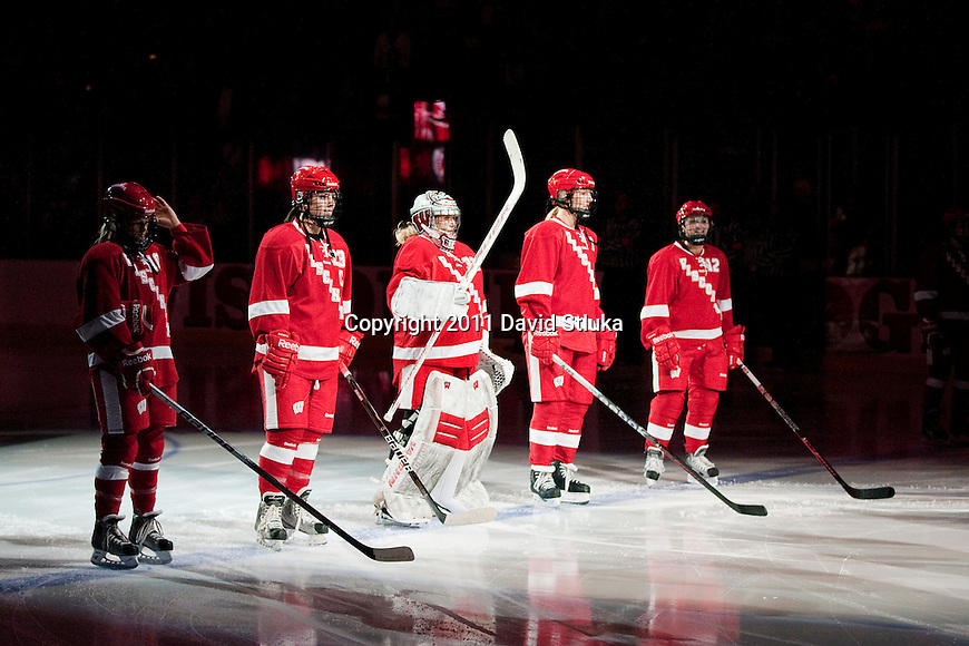 Wisconsin Badgers starters line up during introductions prior to an NCAA Women's College Hockey game against Lindenwood University Lions on September 23, 2011 in Madison, Wisconsin. The Badgers won 11-0. (Photo by David Stluka)