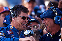 Michael Waltrip is interviewed by Dick Berggren in victory lane after winning the Daytona 500, Daytona International Speedway, Daytona Beach, FL, February 18, 2001.  (Photo by Brian Cleary/www.bcpix.com)