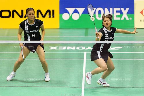 (L to R) Reika Kakiiwa (JPN), Mizuki Fujii (JPN), .December 9, 2012 - Badminton : .The 66th All Japan Badminton Championships 2012, Women's Doubles Final .at Yoyogi 2nd Gymnasium, Tokyo, Japan. .(Photo by Daiju Kitamura/AFLO SPORT) [1045]