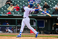 Iowa Cubs second baseman Ian Happ (8) watches a fly ball during a Pacific Coast League game against the San Antonio Missions on May 2, 2019 at Principal Park in Des Moines, Iowa. Iowa defeated San Antonio 8-6. (Brad Krause/Four Seam Images)