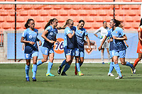 Houston, TX - Saturday May 13, 2017: Sky Blue FC forward Leah Galton (21) celebrates with teammates after scoring a goal during a regular season National Women's Soccer League (NWSL) match between the Houston Dash and Sky Blue FC at BBVA Compass Stadium. Sky Blue won the game 3-1.