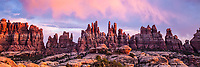 Sunset over the Needles, Canyonlands National Park, Utah, Needles District, Devils Pocket