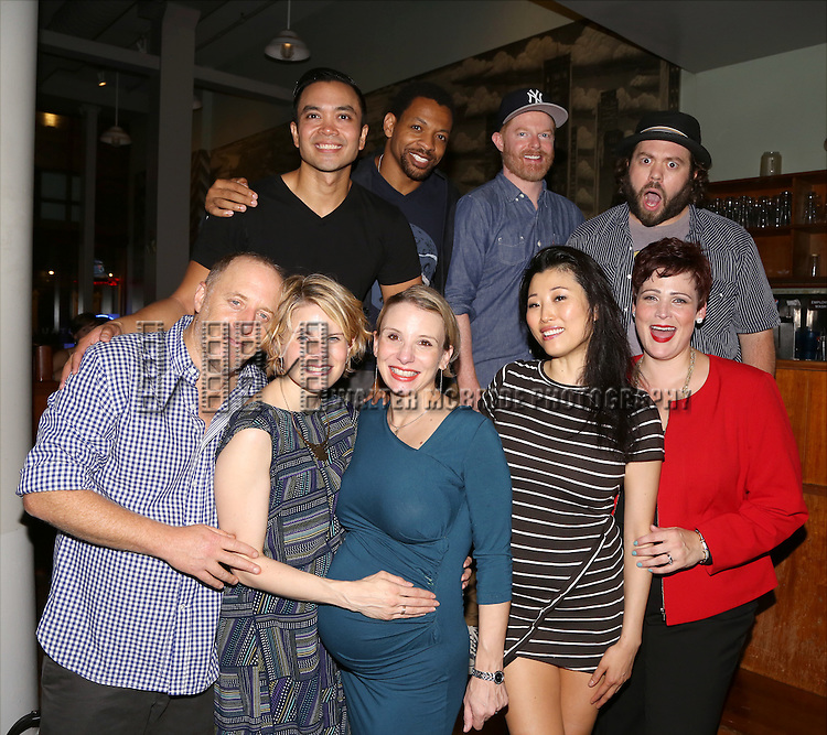 Cast members (Back, L-R) Jose Llana, Derrick Baskin, Jesse Tyler Ferguson and Dan Fogler, and (Front L-R) Jay Reiss, Celia Keenan-Bolger, Sarah Saltzberg, Deborah S. Craig and Lisa Howard attend the After Party for the One Night Only 10th Anniversary Concert of 'The 25th Annual Putnam County Spelling Bee' at Town Hall on July 6, 2015 in New York City.