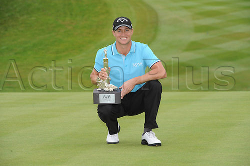 05.06.2011  Alexander Noren (SWE) winner of the SAAB Wales Open with the trophy on the 18th  after  round 4 of the  Saab Wales Open Golf Championship from Celtic Manor on the Twenty Ten Course in Newport Gwent Wales.