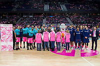 Estudiantes players and FC Barcelona Lassa players take family photo in support of breast cancer during Liga Endesa match between Estudiantes and FC Barcelona Lassa at Wizink Center in Madrid, Spain. October 22, 2017. (ALTERPHOTOS/Borja B.Hojas) /NortePhoto.com