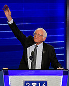 United States Senator Bernie Sanders (Independent of Vermont) acknowledges the cheers as he prepares to make remarks at the 2016 Democratic National Convention at the Wells Fargo Center in Philadelphia, Pennsylvania on Monday, July 25, 2016.<br /> Credit: Ron Sachs / CNP<br /> (RESTRICTION: NO New York or New Jersey Newspapers or newspapers within a 75 mile radius of New York City)