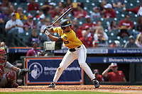 Austin James (23) of the Missouri Tigers at bat against the Oklahoma Sooners in game four of the 2020 Shriners Hospitals for Children College Classic at Minute Maid Park on February 29, 2020 in Houston, Texas. The Tigers defeated the Sooners 8-7. (Brian Westerholt/Four Seam Images)