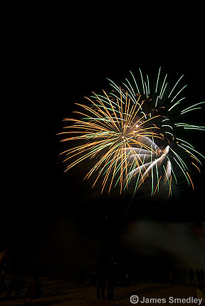 Fireworks display at a small town winter carnival