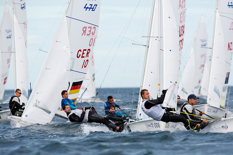 SANTANDER, SPAIN - SEPTEMBER 19:  470 Men - USA1713 - Stu Mcnay / Dave Hughes in action during Day 8 of the 2014 ISAF Sailing World Championships on September 19, 2014 in Santander, Spain.  (Photo by MickAnderson/SAILINGPIX via Getty Images)