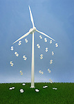 Dollar sign falling from wind turbine against clear sky depicting the concept of profit in ecology