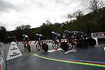 Tirol Cycling Team power off the start ramp during the Men's Elite Team Time Trial of the 2018 UCI Road World Championships running 62.8km from &Ouml;tztal to Innsbruck, Innsbruck-Tirol, Austria 2018. 23rd September 2018.<br /> Picture: Innsbruck-Tirol 2018 | Cyclefile<br /> <br /> <br /> All photos usage must carry mandatory copyright credit (&copy; Cyclefile | Innsbruck-Tirol 2018)