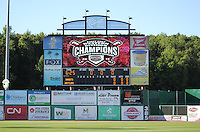 APPLETON - June 2012: \TR\ of the Wisconsin Timber Rattlers, Class-A affiliate of the Milwaukee Brewers, during a game against the Quad Cities River Bandits on June 25, 2012 at Time Warner Cable Field at Fox Cities Stadium in Appleton, Wisconsin. (Photo by Brad Krause).