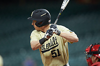 JJ Bleday (51) of the Vanderbilt Commodores at bat against the Houston Cougars during game nine of the 2018 Shriners Hospitals for Children College Classic at Minute Maid Park on March 3, 2018 in Houston, Texas. The Commodores defeated the Cougars 9-4. (Brian Westerholt/Four Seam Images)