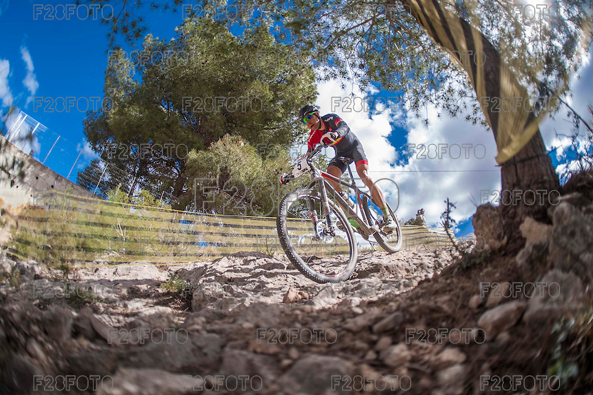 Chelva, SPAIN - MARCH 6: David Valero during Spanish Open BTT XCO on March 6, 2016 in Chelva, Spain