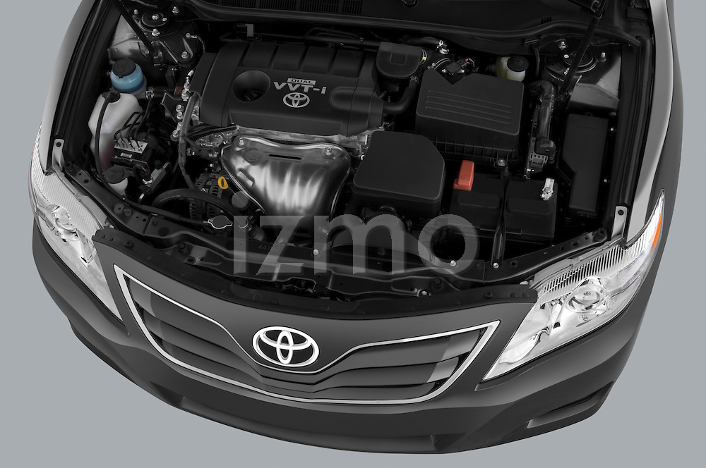 High angle engine detail of a 2010 Toyota Camry LE .