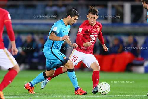 (L-R) Luis Suarez (Barcelona), Yu Hanchao (Evergrande), <br /> DECEMBER 17, 2015 - Football / Soccer : <br /> FIFA Club World Cup Japan 2015 <br /> semi-final match between Barcelona 3-0 Guangzhou Evergrande <br /> at Yokohama International Stadium in Kanagawa, Japan.<br /> (Photo by Yohei Osada/AFLO SPORT)