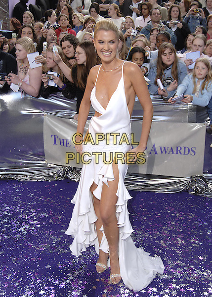 SARAH DUNN.British Soap Awards - Arrivals.BBC Television Centre, W12, London.May 7th, 2005.full length white dress plunging neckline cut away cut out.www.capitalpictures.com.sales@capitalpictures.com.©Capital Pictures.