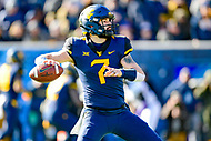 Morgantown, WV - NOV 10, 2018: West Virginia Mountaineers quarterback Will Grier (7) looks down field to pass the football during game between West Virginia and TCU at Mountaineer Field at Milan Puskar Stadium Morgantown, West Virginia. (Photo by Phil Peters/Media Images International)