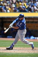 OAKLAND, CA - APRIL 16:  Mike Moustakas #8 of the Kansas City Royals bats against the Oakland Athletics during the game at the Oakland Coliseum on Saturday, April 16, 2016 in Oakland, California. Photo by Brad Mangin