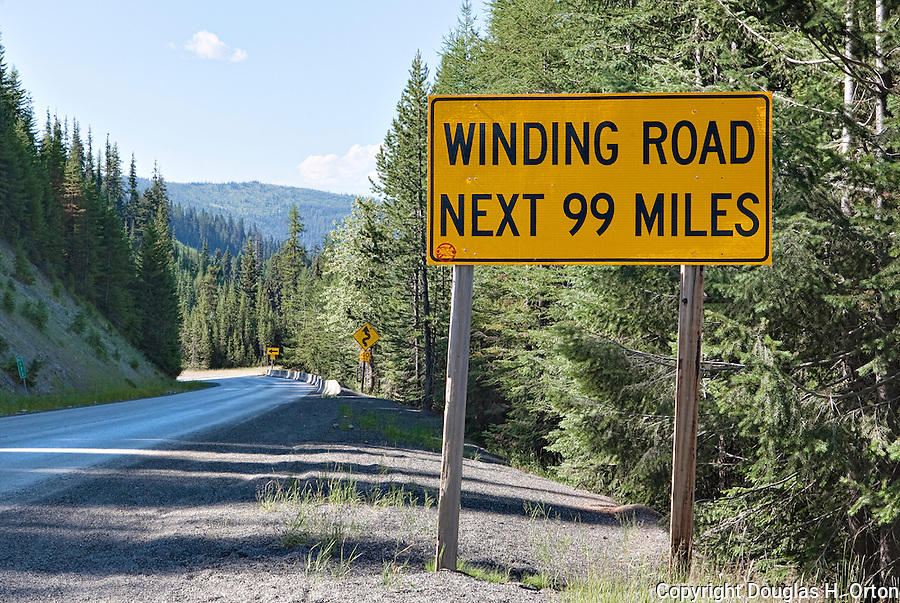 Winding road sign lolo pass idaho douglas orton imaging winding road next 99 miles what more description do you need for lolo pass publicscrutiny Images