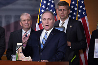Representative Steve Scalise, Republican of Louisiana, speaks during a post Republican Caucus meeting press conference on Capitol Hill in Washington, DC on June 13, 2018. Credit: Alex Edelman / CNP /MediaPunch