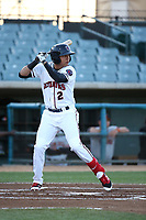 Jonathan Daza (2) of the Lancaster JetHawks bats against the San Jose Giants at The Hanger on April 10, 2017 in Lancaster, California. Lancaster defeated San Jose 11-7. (Larry Goren/Four Seam Images)