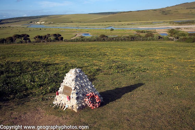 View north east over River Cuckmere valley from Seaford Head, East Sussex, England. Canadian war memorial.