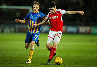 Fleetwood Town's Bobby Grant shields the ball from Shrewsbury Town's Luke Hendrie<br /> <br /> Photographer Alex Dodd/CameraSport<br /> <br /> The EFL Sky Bet League One - Fleetwood Town v Shrewsbury Town - Tuesday 13th February 2018 - Highbury Stadium - Fleetwood<br /> <br /> World Copyright &copy; 2018 CameraSport. All rights reserved. 43 Linden Ave. Countesthorpe. Leicester. England. LE8 5PG - Tel: +44 (0) 116 277 4147 - admin@camerasport.com - www.camerasport.com