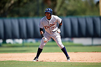 Detroit Tigers Dawel Lugo (71) leads off second base during an Instructional League game against the Atlanta Braves on October 10, 2017 at the ESPN Wide World of Sports Complex in Orlando, Florida.  (Mike Janes/Four Seam Images)