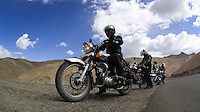 Suzanne Lee's Sony ActionCam mounted on the leg guard while Sanjit Das (left) starts the bike as they ride through some of the World's Highest Motorable roads during their trip Across the Himalayas in the Valley of Ladakh, India, on Royal Enfield motorcycles in June 2014. A resulting 4 minute short film was made, all shot on an arsenal of Sony ActionCam video cameras. Photo by Suzanne Lee/Panos Pictures