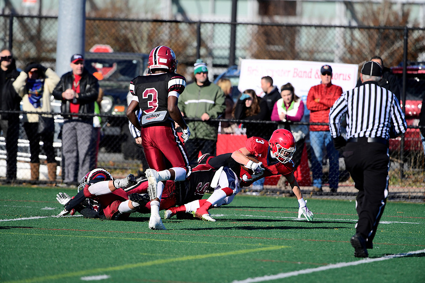 November 23, 2017:  Game action from the Brockton vs Bridgewater-Raynham Cape Cod Cafe Championship  varsity football game played at Bridgewater-Raynham High School, in Bridgewater,  Mass. Bridgewater-Raynham defeats Brockton 36-15. Eric Canha/BridgewaterSports.com