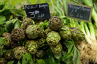 Artichokes and leek on sale at le Marché Provencal [The Provencal Market], Antibes, France, 16 October 2013