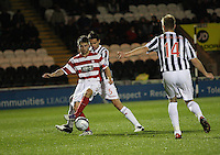 Lee Mair marks James Keatings close in the St Mirren v Hamilton Academical Scottish Communities League Cup match played at St Mirren Park, Paisley on 25.9.12.