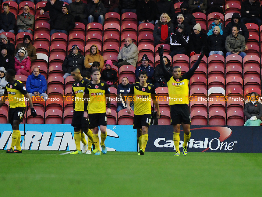Troy Deeney of Watford celebrates scoring the equaliser - Middlesbrough vs Watford - Sky Bet Championship Football at the Riverside Stadium, Middlesbrough - 09/11/13 - MANDATORY CREDIT: Steven White/TGSPHOTO - Self billing applies where appropriate - 0845 094 6026 - contact@tgsphoto.co.uk - NO UNPAID USE