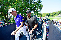 Justin Thomas (USA)  and Tiger Woods (USA)finishing their 2nd round during  the 100th PGA Championship at Bellerive Country Club, St. Louis, Missouri.<br /> Picture Tom Russo / Golffile.ie<br /> <br /> All photo usage must carry mandatory copyright credit (© Golffile | Tom Russo)