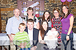Jerry and Joanne Moriarty, from Ardfert ?with baby Megan at her christening party in Lowe's Bar ballyduff on Saturday.  Pictured front l-r Dylan Jerry and Joanne with baby Megan Moriarty.  Back l-r Joe Keane, Sheila and Marie O'Shea, Veronica Keane and Christine Nolan. .   Copyright Kerry's Eye 2008