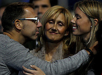 Mar?a Isabel Nadal, sister of Rafael Nadal of Spain, smiles with mother looking on at the ATP World Tour Finals, The O2, London, 2015