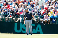 Pat Perez (USA) reacts to making a birdie putt on the 7th hole during the second round of the 118th U.S. Open Championship at Shinnecock Hills Golf Club in Southampton, NY, USA. 15th June 2018.<br /> Picture: Golffile | Brian Spurlock<br /> <br /> <br /> All photo usage must carry mandatory copyright credit (&copy; Golffile | Brian Spurlock)