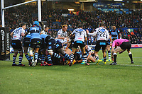Nick Williams of Cardiff Blues scores his sides third try during the Guinness Pro14 Round 8 match between the Cardiff Blues and Zebre Rugby at the Cardiff Arms Park in Cardiff, Wales, UK. Sunday 4th November 2018