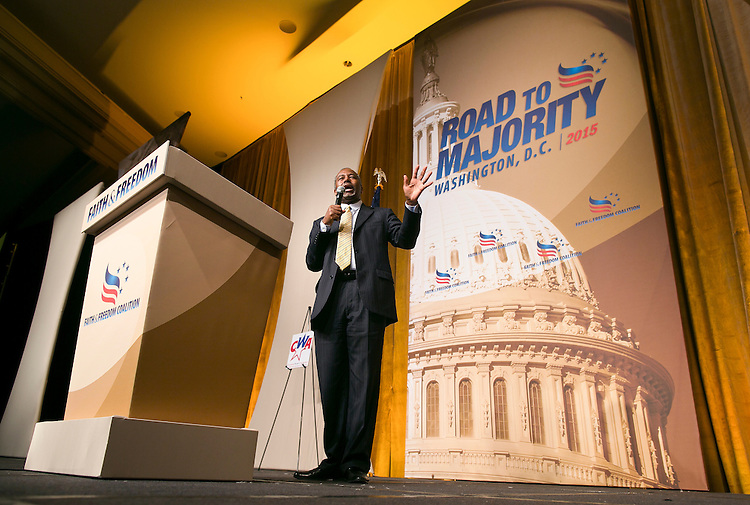 UNITED STATES - JUNE 19- Republican presidential candidate Dr. Ben Carson speaks during the Faith & Freedom Coalition's Road to Majority conference which featured speeches by conservative politicians at the Washington D.C. Omni Shoreham Hotel, June 19, 2015.(Photo By Al Drago/CQ Roll Call)