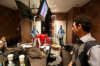 Comedians participating in the 6th Annual NY Arab-American Comedy Festival gather in the changing room before the start of the show in New York, USA, 13 May 2009.